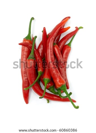 Red chilli peppers isolated against a white background - stock photo