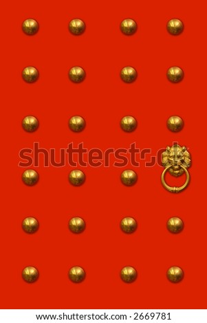 Red chinese door with a lion/dragon head. Concept: Chinese New Year celebration.