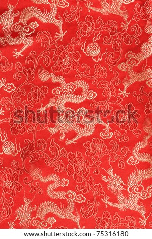red chinese dragon textile