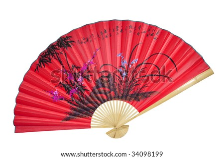 red Chinese fan on a white background - stock photo
