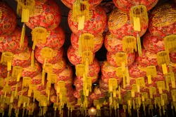 red Chinese lantern decoration at Chinese temple