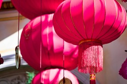 Red Chinese lantern hanging on a lobby of a hotel in Las Vegas, Las Vegas Nevada USA, March 30, 2020