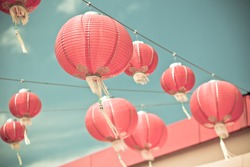Red Chinese Paper Lanterns against a Blue Sky. Horizontal shot