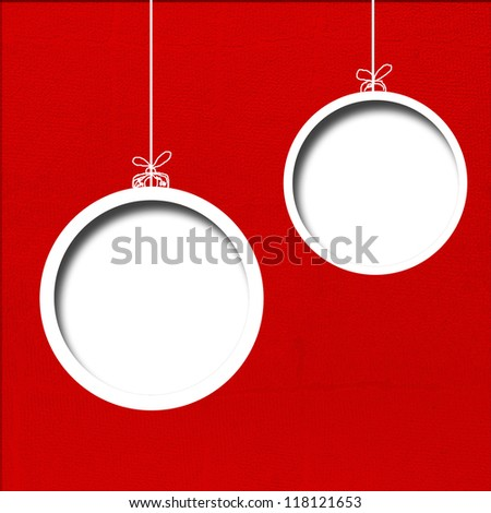 Red Christmas background. Christmas balls. - stock photo
