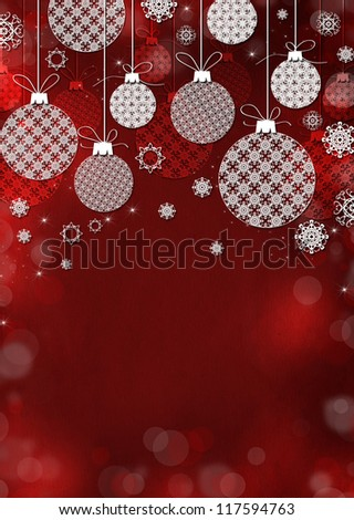 Red Christmas background with Celebratory toys