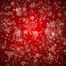 Red christmas background with white snow flakes