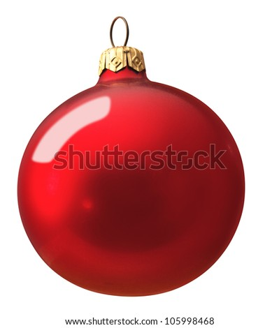Red christmas ball against white