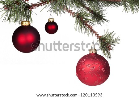 Red Christmas ball hanging from a tree