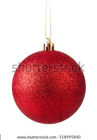 Red christmas ball hanging isolated on white background #518995840