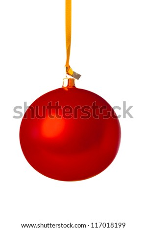 Red Christmas ball hanging on a golden ribbon.