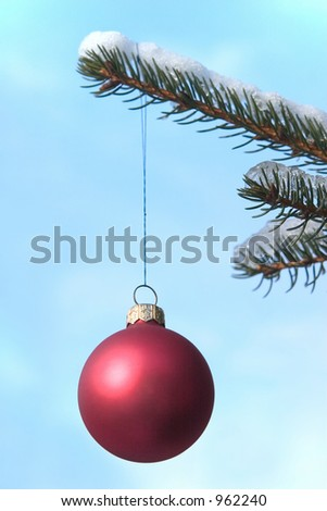 red christmas ball hanging on a snow covered tree. Focus on the ball.