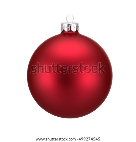 Red christmas ball isolated on white background #499274545
