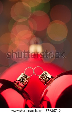 Red Christmas Ball on Abstract Background