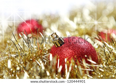 red christmas ball on holiday background