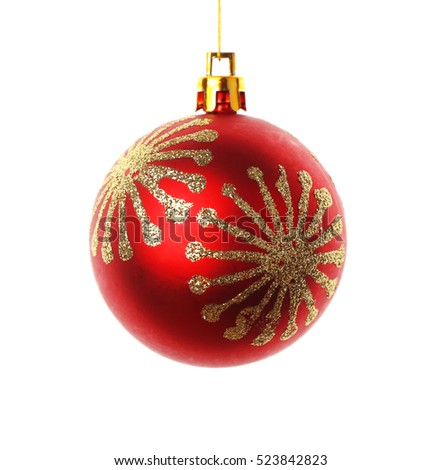 Red Christmas ball on white background #523842823
