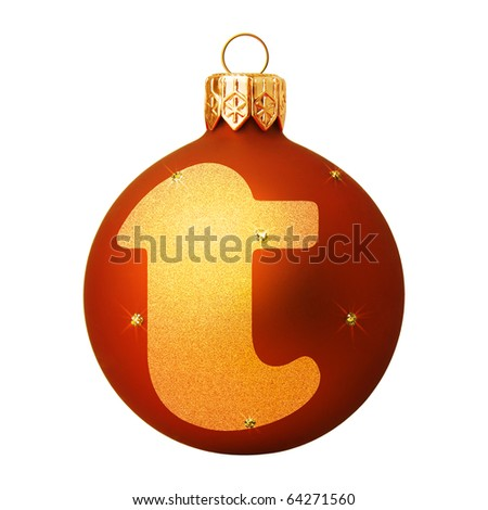 Red Christmas ball with a letter - stock photo