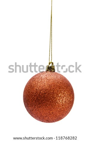 red Christmas ball with bow isolated on white