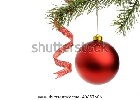 Red Christmas ball with fir branches isolated on white