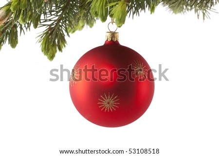 Red Christmas ball with fir twig