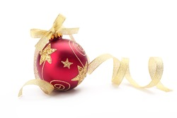Red christmas ball with gold ribbon bow on white background.