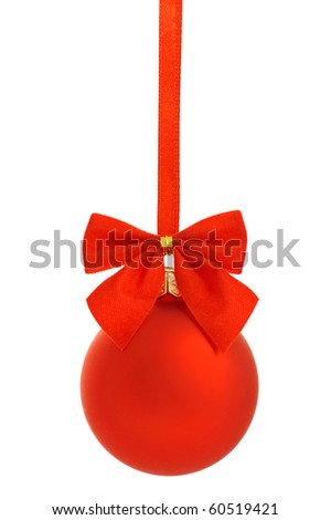 Red christmas ball  with red ribbon isolated on white