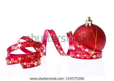 red christmas ball with ribbon isolated on white background - stock photo