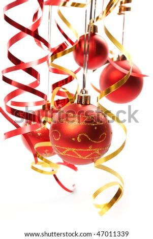 Red Christmas balls - stock photo