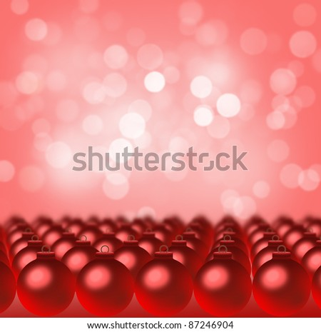 Red Christmas Balls arranged in rows with background bokeh - stock photo