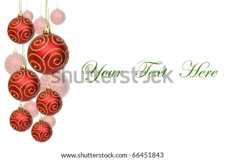 Red Christmas balls decorations isolated on white background for message