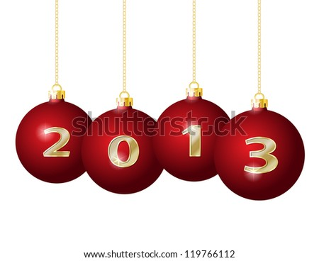 Red Christmas Balls 2013 Hanging on Golden Chains isolated on white background