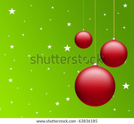 Red christmas balls on green background with stars