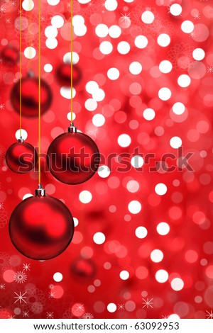 Red Christmas balls with blur shiny background #63092953