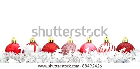 Red Christmas bauble border with silver garland