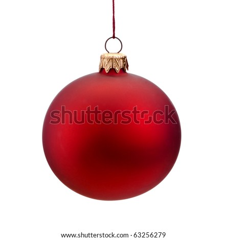 Red Christmas bauble, hanging from a wire, isolated on a white background.