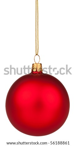 Red Christmas bauble with full clipping path