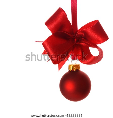 red christmas bauble with ribbon isolated on white background
