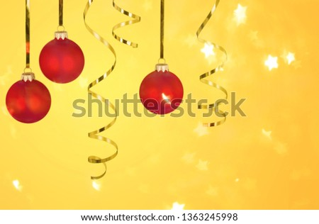Red Christmas Baubles with Ribbon Hanging on #1363245998