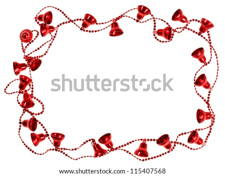 Red Christmas bell garland frame, isolated on white