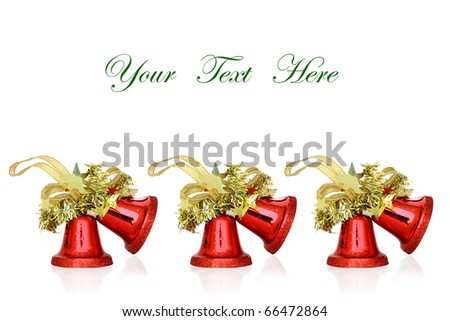 Red Christmas Bells on white background with space for message