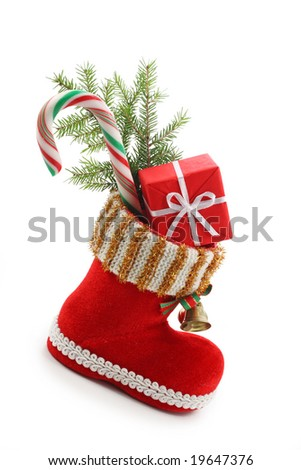 red christmas boot with gift isolated on white background