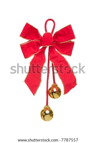 Red Christmas Bow with Bells, Isolated. - stock photo