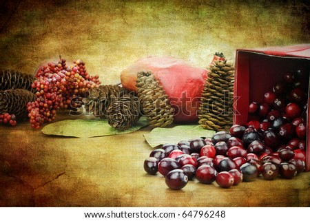 Red Christmas box spilling out fresh cranberries with pine cones an pomegranates in the background.