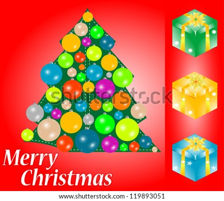 red christmas card with gift, tree and bauble. happy new year, raster