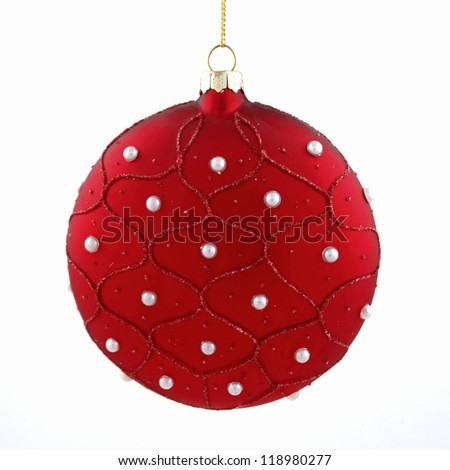 Red christmas cone toy isolated on white background