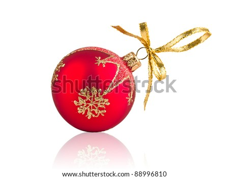 Red Christmas decoration ball isolated on white background