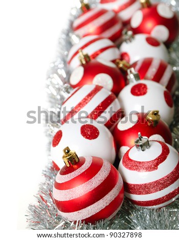 Red christmas decoration balls on white background