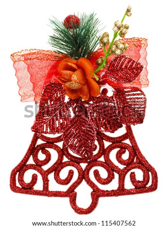 Red Christmas decoration bell, isolated on white