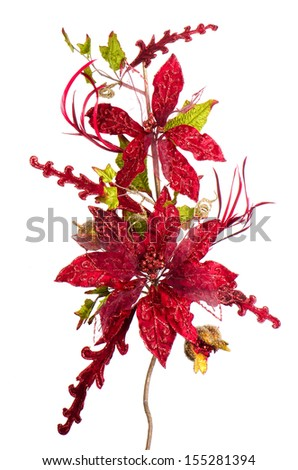 Red Christmas decoration isolated  on white background.