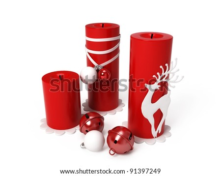 Red christmas decoration isolated on white background - stock photo