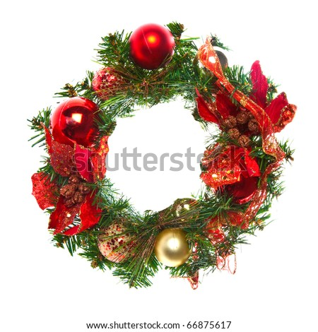 Red christmas garland with baubles and ribbons on white.